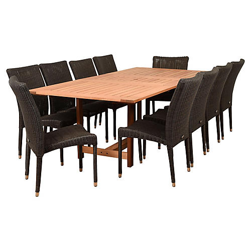 Catania 11-Pc Dining Set, Natural/Distressed Gray