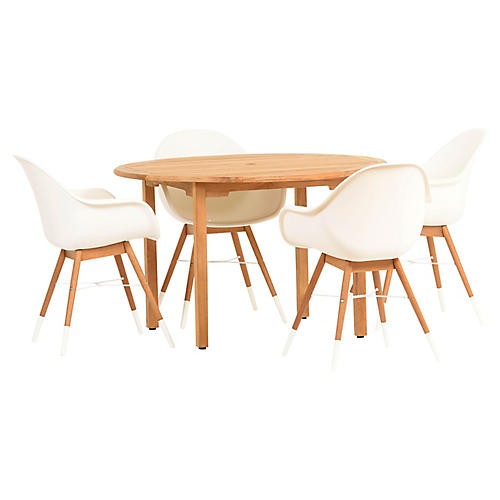 Charlotte 5-Pc Round Dining Set, White/Natural