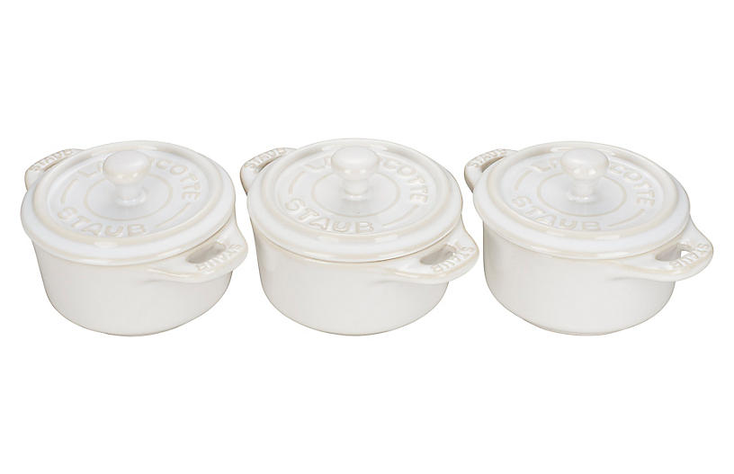 3-Pc Mini Round Cocottes, Rustic Ivory