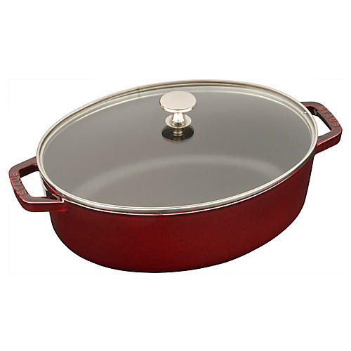 4.25-qt Shallow Oval Cocotte w/Lid, Grenadine