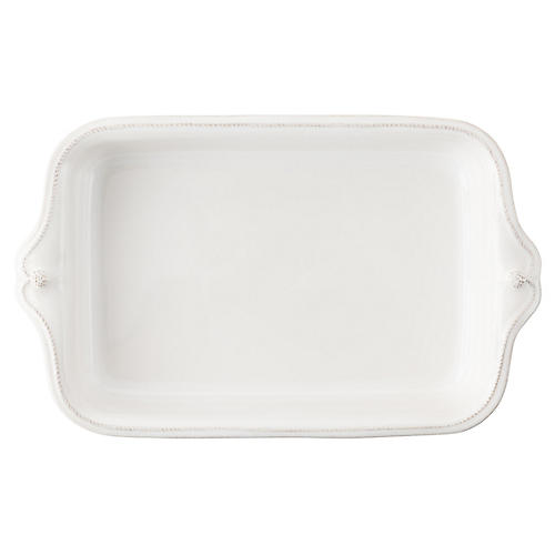 Berry & Thread Rectangular Baker, White