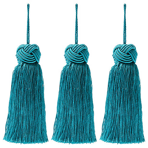 S/3 Tinsel Knot-Top Tassel Ornaments, Green