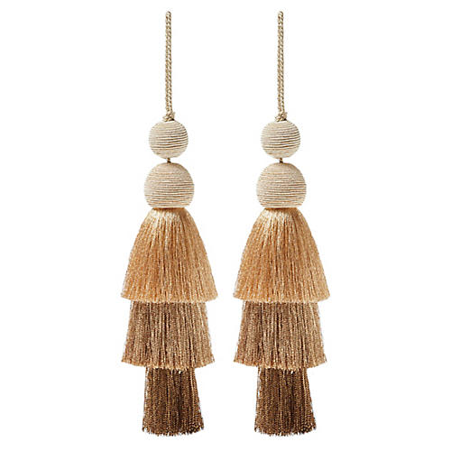 S/2 Fiesta Tiered Tassel Ornaments, Gold
