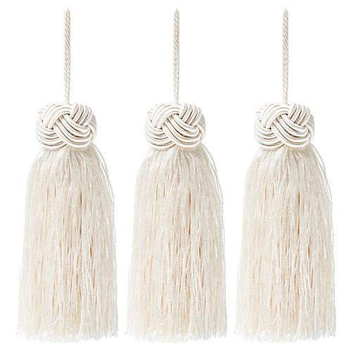 S/3 Tinsel Knot-Top Tassel Ornaments, Ivory