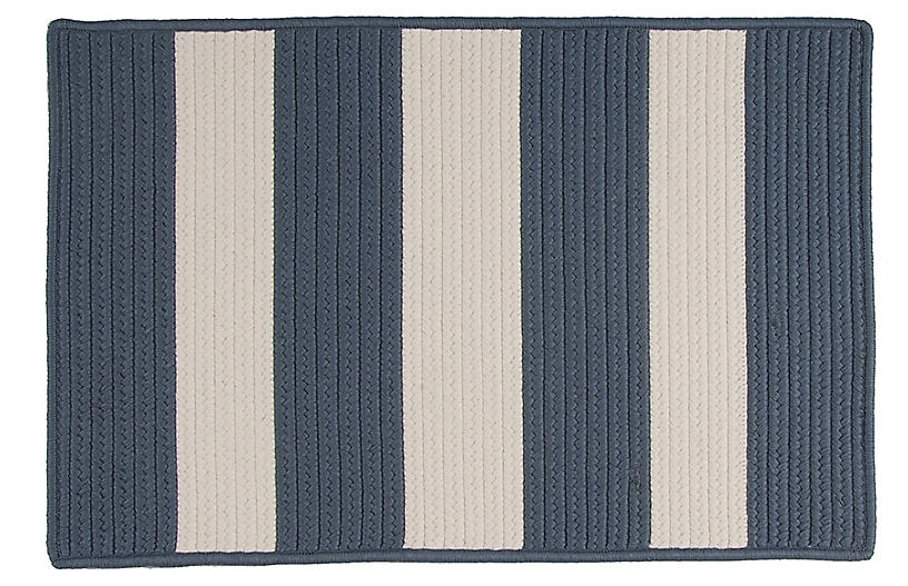 Foster Outdoor Rug, Navy/Ivory