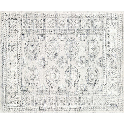 Arley Hand-Knotted Rug, White/Indigo