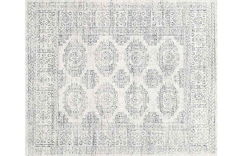 Arley Hand-Knotted Rug, White/Indigo