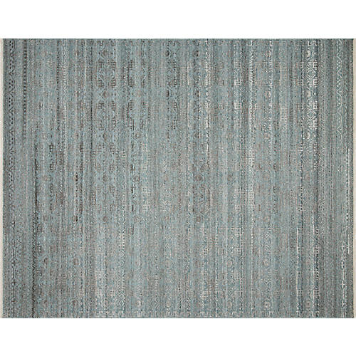 Spring Hand-Knotted Rug, Ocean/Smoke