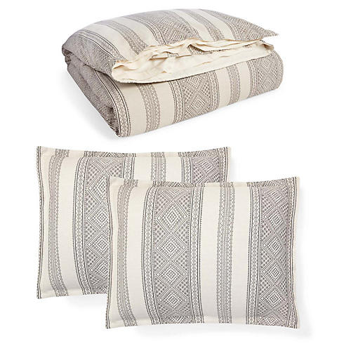 Taylor Duvet Set, Cream/Charcoal