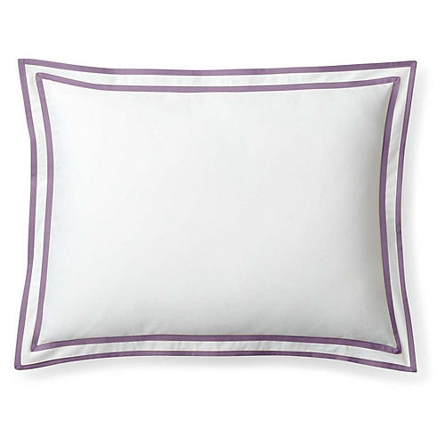 Spencer Border Sham, White/Lavender