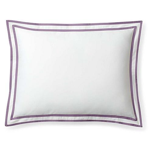 Spencer Border Sham, White/Lavender
