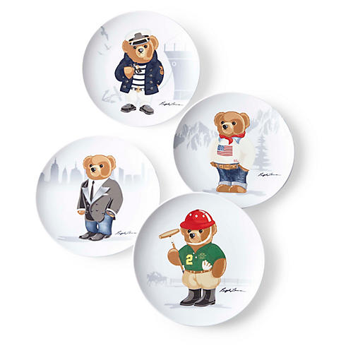 Asst. of 4 Haven Bear Dessert Plates, White/Multi