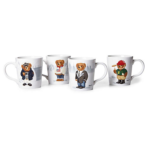 Asst. of 4 Haven Bear Mugs, White/Multi