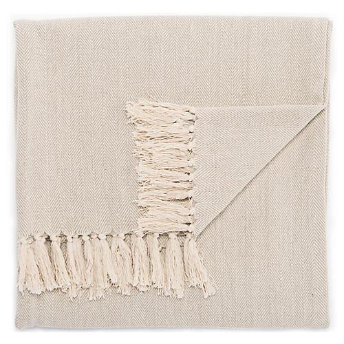 Nocc Cotton Throw, Gray/Cream