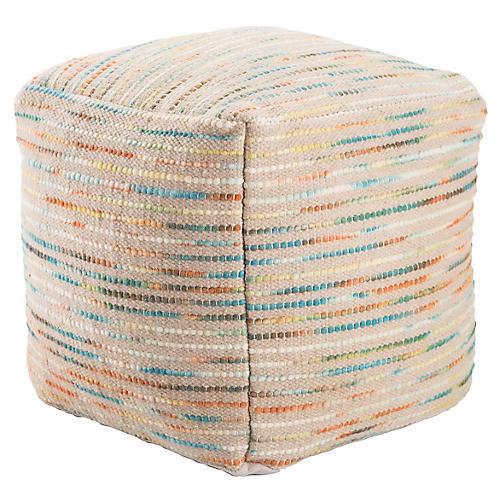 Almi Pouf, Beige/Multi Stripe