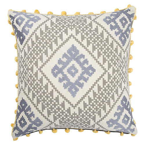 Bue 20x20 Pillow, Gray/Yellow
