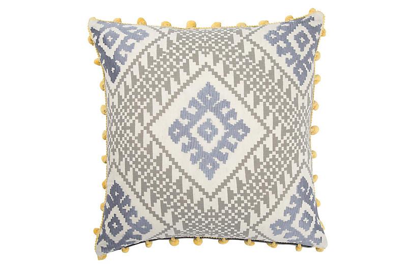 Bue 20x20 Pillow, Gray/Yellow
