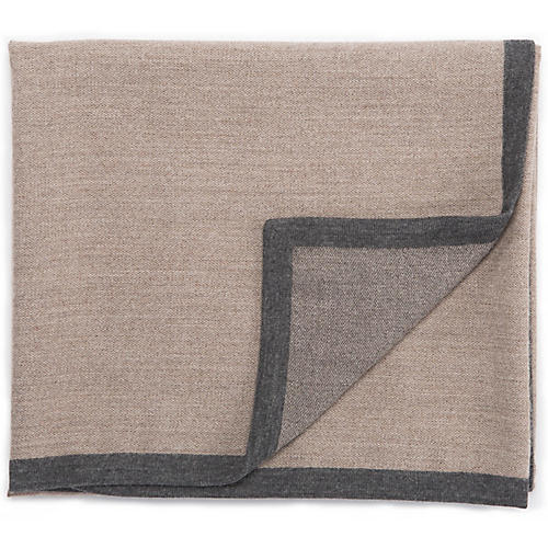 Tia Alpaca Throw, Gray/Taupe
