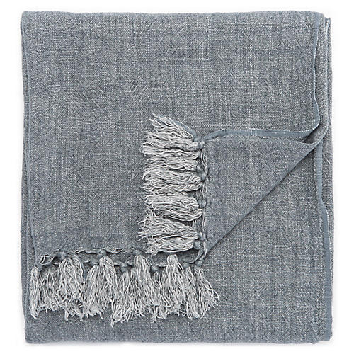 Besle Linen Throw, Blue