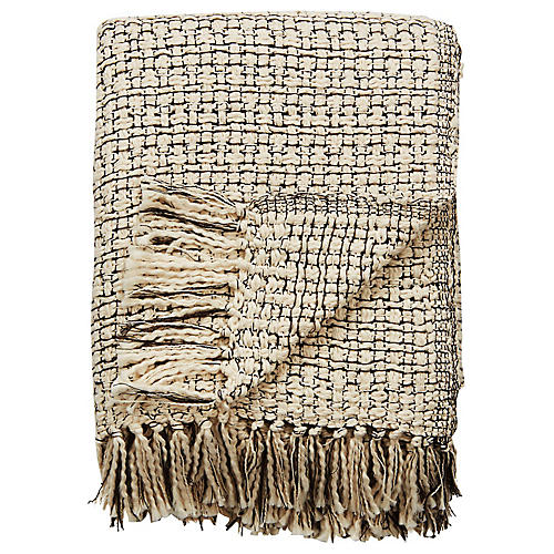 Nelk Cotton Throw, Cream/Black