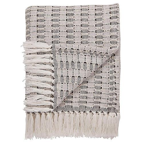 Ress Cotton Throw, Gray