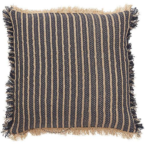 Yinla 18x18 Pillow, Navy/Beige