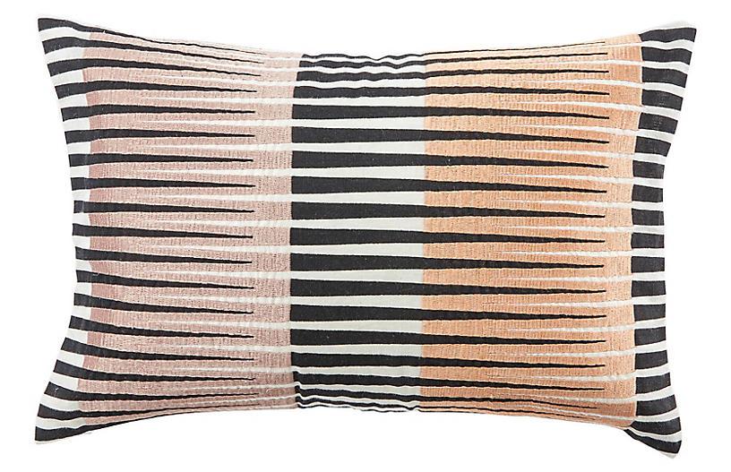Cha 16x24 Lumbar Pillow, Black/Pink