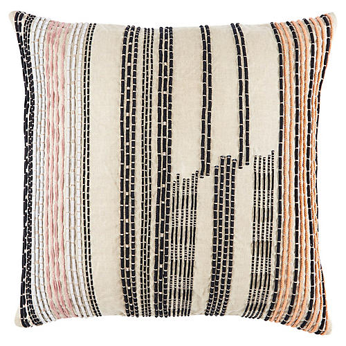 Ovaa 22x22 Pillow, Cream/Black