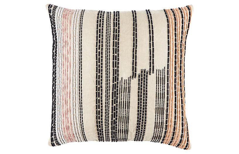 Ovaa 22x22 Pillow, Cream/Black