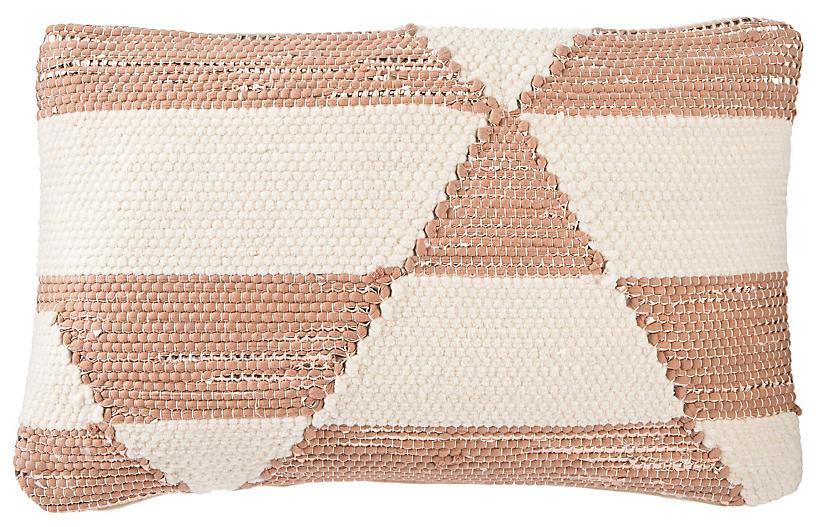Ota 16x24 Lumbar Pillow, Cream/Pink