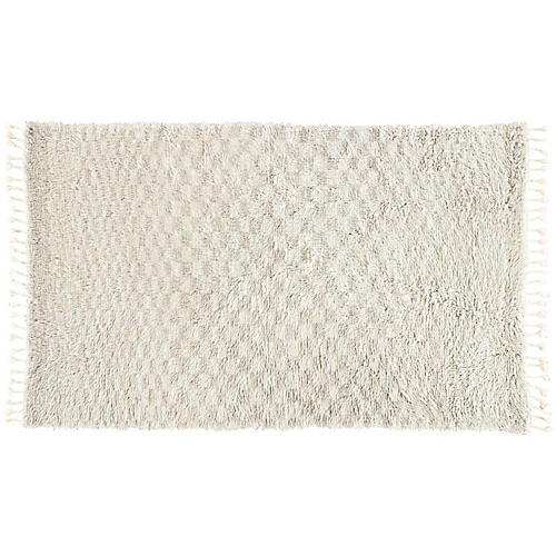 Condola Hand-Knotted Rug, Ivory/Light Gray