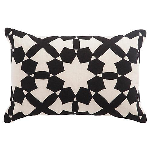 Dicce 16x24 Lumbar Pillow, Black/Ivory Linen