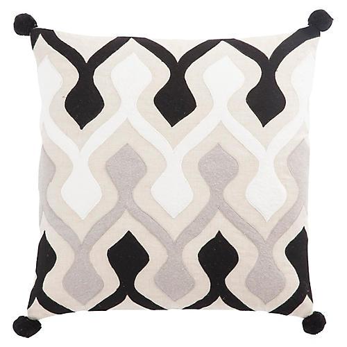 Hela 22x22 Pillow, Black/Ivory Linen