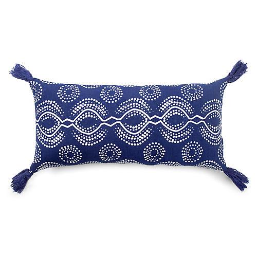 Sani 10x21 Lumbar Pillow, Blue/White Linen