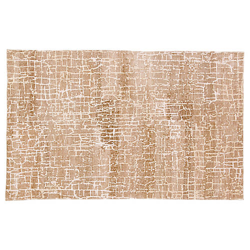 Scribere Hand-Knotted Rug, Light Brown/Ivory