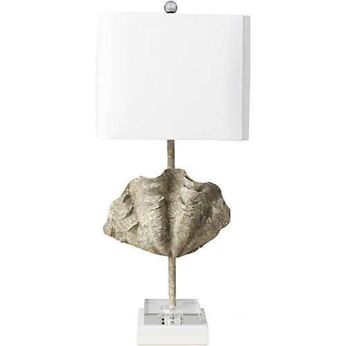 Morris Shell Table Lamp, Silver