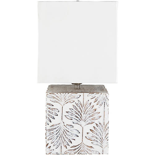 Ferrell Palm Table Lamp, Whitewash