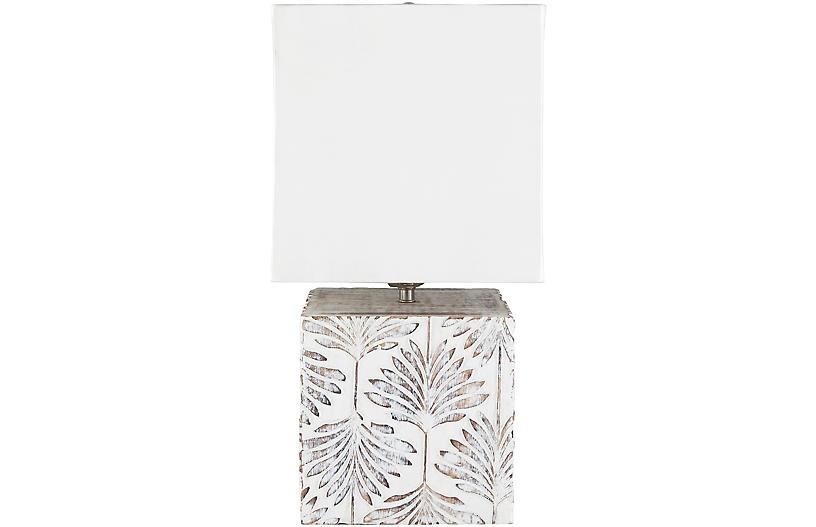 Ferrell Palm Table Lamp, Whitewash