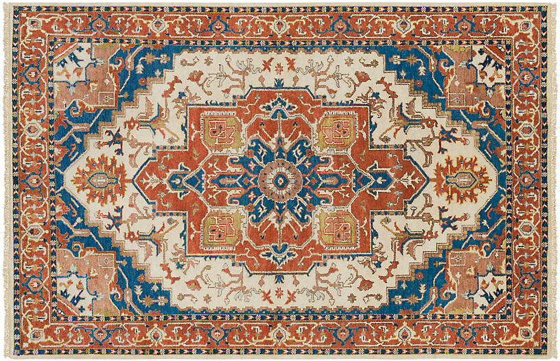 Zeus Hand-Knotted Rug, Orange/Blue