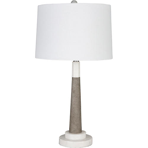 Vassey Marble Table Lamp, White/Gray
