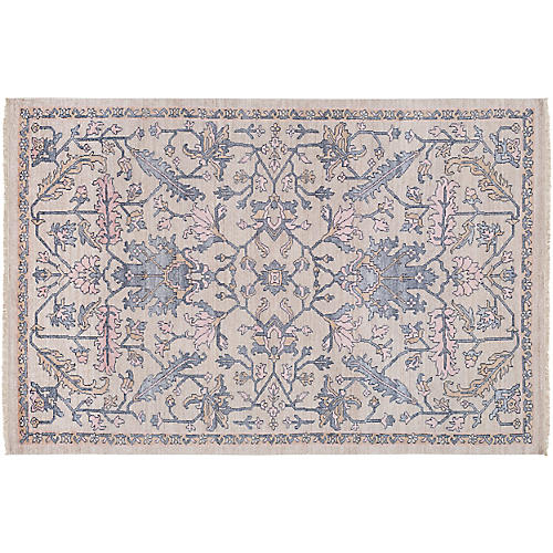 Sucti Hand-Knotted Rug, Charcoal/Natural