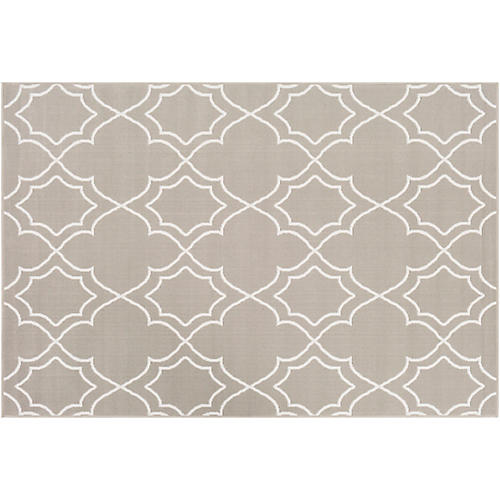 Sita Outdoor Rug, Taupe/White