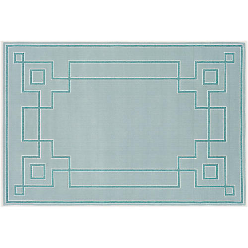 Richmond Outdoor Rug, Aqua/Teal