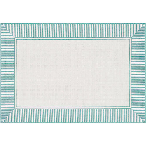 Fay Outdoor Rug, Teal/White