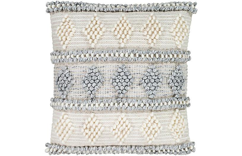 Wiyot 18x18 Pillow, Light Gray/Khaki
