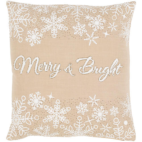 Merry & Bright 20x20 Pillow, Beige