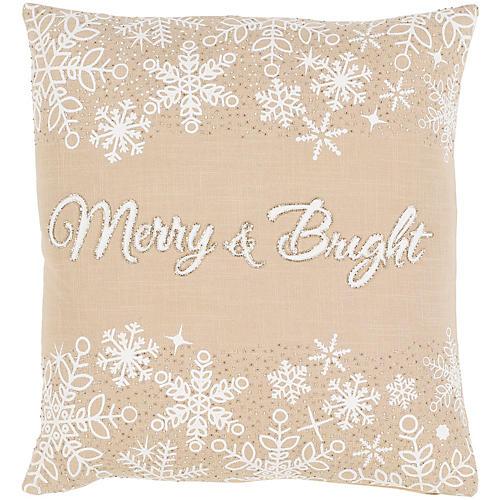 Merry & Bright 20x20 Pillow, Beige