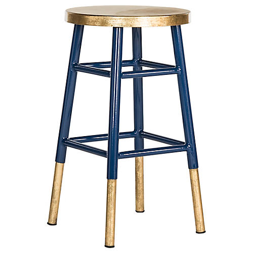Lacie Counter Stool, Blue/Gold