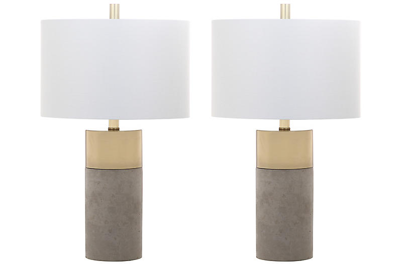 S/2 Chloe Concrete Table Lamps, Gray