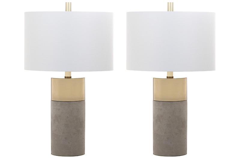 S/2 Chloe Concrete Table Lamps, Gray